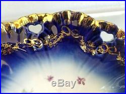 11.5 Vintage Flow Blue Bowl Centerpiece Hand Painted Victoria Carlsbad Austria