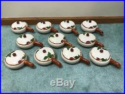 11 Vintage Franciscan USA Apple Individual Handle Casserole Bowls 1949-1953 EUC