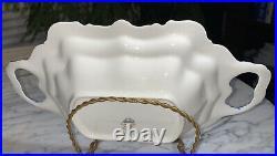 13vtg German Bavaria Lindner Porcelain Cobalt Blue Gold Serving Bowl Dish Rare