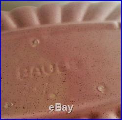 16 BAUER centerpiece flower vase fruit bowl pink speckle pumpkin vtg pottery