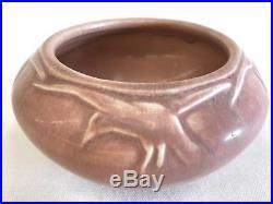 1921 Rookwood Pottery matte pink Bowl Rooks Ravens Birds Art vtg antique