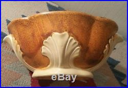 1930s STANGL acanthus sunburst tangerine antique blue bowl vase vtg art pottery