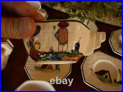 1940s Tlaquepaque Vintage Mexico Siesta Rabbit Cactus 5 Cup Saucer Sugar Bowl