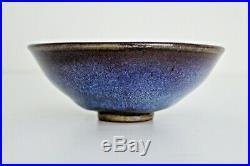 1969 Harding Black Vtg Mid Century Modern Studio Pottery Bowl Texas Artist Blue