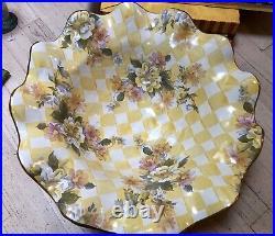 1983 -1998 Vintage MacKenzie Childs Honeymoon Large Yellow Dandy Lion Check Bowl