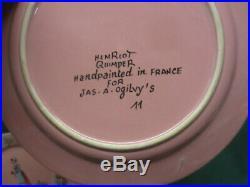 20 pc vtg Pink Peasant Henriot Quimper for Ogilvy's Montreal Plates Cups Bowls