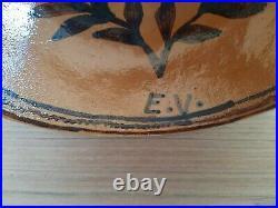 2 ESTEBAN VALDEZ Mexican Pottery Vintage Bowls Rare Guanajuato Gato Pescador MEX