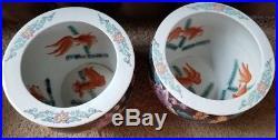2 Large Vtg Asian/Oriental Koi Fish Bowl JARDINIERE Hand Painted Floral Planter