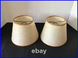 2 VTG MCM RETRO TRIPOD HAIRPIN RED POTTERY BOWL PLANTER 14 TABLE LAMPS WithSHADES