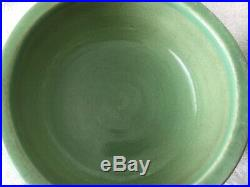 2 Vintage Robinson Ransbottom Pottery Roseville Dog Bowl Mint Green feeder Small