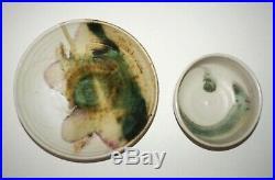 2x Vtg Hawaii Pottery Bowls White & Pastel Tone Glaze by Toshiko Takaezu (Cwo)