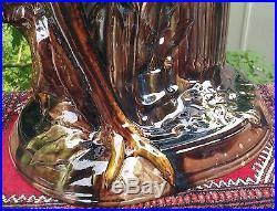 37 GARDEN PEDESTAL antique pottery majolica jardiniere vase bowl vtg roseville