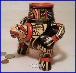 3 FOOTED vtg mayan aztec effigy pottery lizard face man cup bowl pot art statue