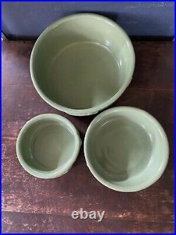 3 VTG Nesting ROSEVILLE DOG BOWL set POTTERY R. R. P. Co GREEN Feeding Dish NOS