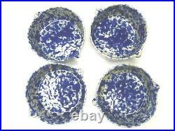 4 VTG Bennington Pottery Vermont 1641 Blue Sponge Agate 5 Tab Handled Bowls