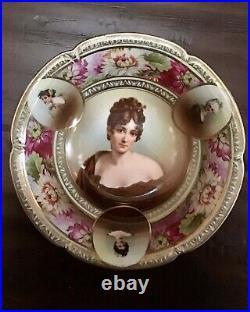 4 Vintage Bavaria Germany Hand Painted Portrait Porcelain Bowl
