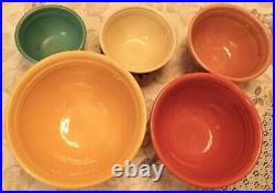 5 Vintage BAUER Pottery Ringware Mixing/Nesting BowlsMulti-Color & Beautiful