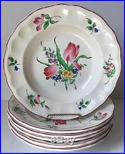 6 Vintage Luneville France Old Strasbourg Soup Bowls-tulips