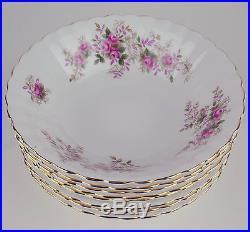 8 x SOUP / CEREAL BOWLS Royal Albert LAVENDER ROSE vintage England