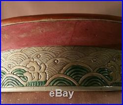 AQUARIUM antique chinese pottery bird bowl vtg famille rose porcelain turtle art