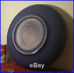 ARTS & CRAFTS shallow bowl vtg blue matt glaze teco deco catalina california