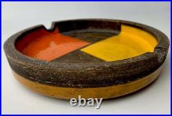 Aldo Londi Bitossi ceramic bowl centerpiece Mondrian Orange Mod Vintage
