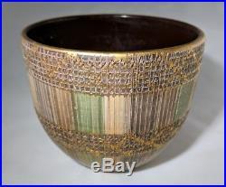 Aldo Londi Italy Art Pottery Bitossi Pastel Gold Bowl Vessel Planter Vtg 50s