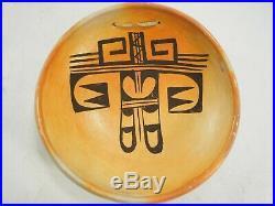 Annette Silas(1915-1990) Vintage Hopi Hanging Pottery Bowl Black on Red 7.75