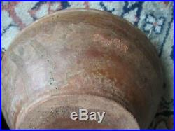 Antique 19thC Vintage Primitive Slip Decorated Redware Pottery Bowl Dish Plate