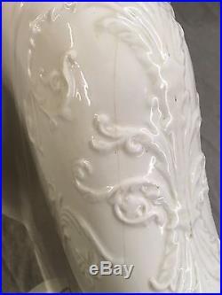 Antique Ceramic White Ornate Floral Embossed Victorian Toilet Bowl Vtg 352-17E