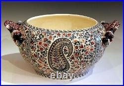 Antique Gien French Pottery Jardiniere Planter Bowl Transferware Big Centerpiece
