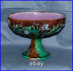 Antique Majolica Pottery Ivy Berry Pear Compote