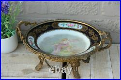 Antique Sevres porcelain centerpiece Bowl bronze base putti signed