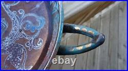 Antique Signed DANIEL ZULOAGA Spanish Ceramic Art Pottery Handled BOWL 1852-1921