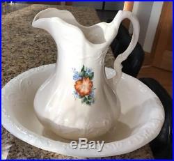 Antique Vintage 1800s Ironstone Wash Basin Bowl And Pitcher Floral Bluebells