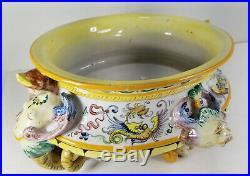 Antique Vintage Italian Majolica Maiolica Planter Bowl Figural Faience Deruta