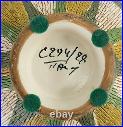 Antique Vintage Mid Century Modern MCM Italian Art Pottery Vase Green Pattern