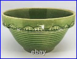 Antique Vtg McCoy Pottery 10 Kitchen Green Glaze Yellow Ware Ribbed Mixing Bowl