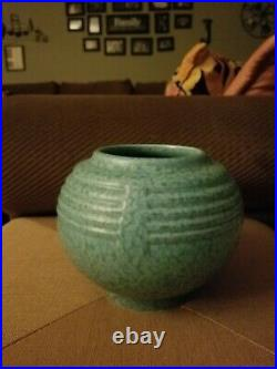 Art Deco ROSEVILLE Tourmaline Rose Bowl Vase Turquoise Aqua Vintage 1930s