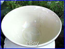 BEAUTIFUL VTG. MCCOY POTTERY 14 MIXING BOWL With PINK & BLUE RINGS NEVER USED