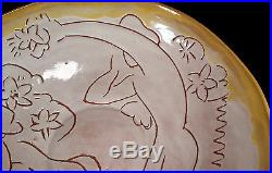 Big Vintage Mary E Erckenbrack California Studio Art Pottery Bowl Sgraffito 14