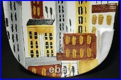 BITOSSI ITALY for RAYMOR NY MID-20TH C VINT HAND PAINTED CITYSCAPE CERAMIC DISH