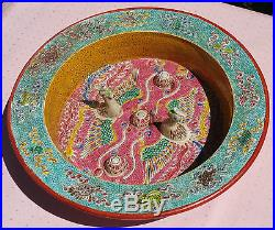 BOX TURTLE aquarium antique chinese pottery bird bowl vtg famille rose porcelain