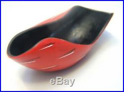 Barsony Era Black Red Aust. Pottery Bowl Signed Retro Vintage 1950's Kitsch