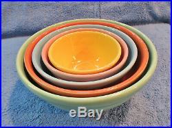 Bauer Pottery Vtg. 40s Ringware Design Nesting Mixing Bowls Complete Set of 5