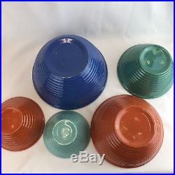 Bauer Vintage 40s Ringware Nesting Mixing Bowls Complete Set of 5 Cobalt Blue