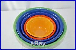 Bauer Vintage Ringware Nesting Mixing Bowls Set of 4 Cobalt Blue