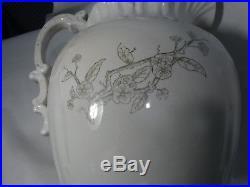 Beautiful Antique Vintage Floral Pitcher and Wash Basin Bowl Set White