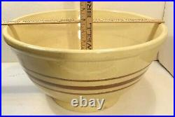 Big Antique 15.5 Yellow Ware Pottery Mixing Bowl Brown Stripe Footed Farmhouse