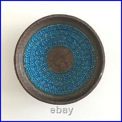 Bitossi Dish Rimini Blue Vintage Stoneware Mid Century Modern Aldo Londi Brown